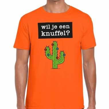 Wil je een knuffel fun t shirt oranje heren