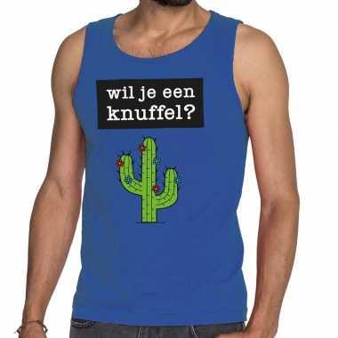 Wil je een knuffel fun tanktop / mouwloos shirt blauw heren