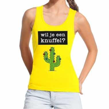 Wil je een knuffel fun tanktop / mouwloos shirt geel dames