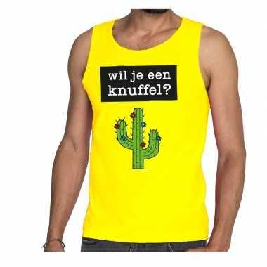 Wil je een knuffel fun tanktop / mouwloos shirt geel heren