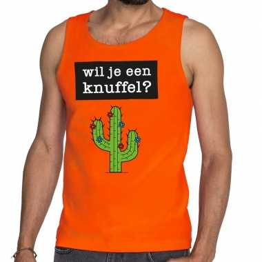 Wil je een knuffel fun tanktop / mouwloos shirt oranje heren