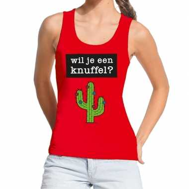 Wil je een knuffel fun tanktop / mouwloos shirt rood dames