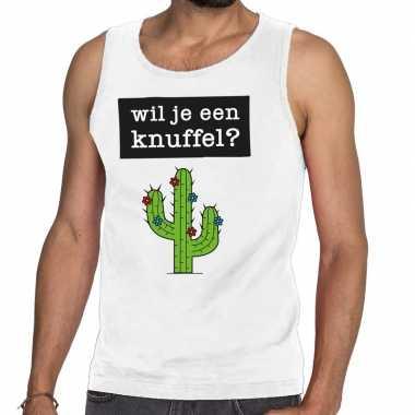Wil je een knuffel fun tanktop / mouwloos shirt wit heren