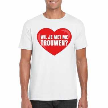 Wil je me trouwen shirt huwelijksaanzoek wit heren