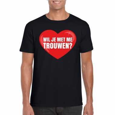 Wil je me trouwen shirt huwelijksaanzoek zwart heren