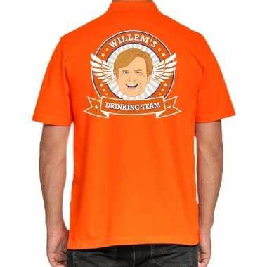 Willems drinking team polo t shirt oranje kroon heren
