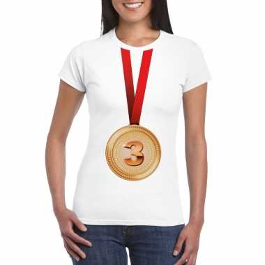 Winnaar bronzen medaille shirt wit dames