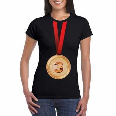 Winnaar bronzen medaille shirt zwart dames