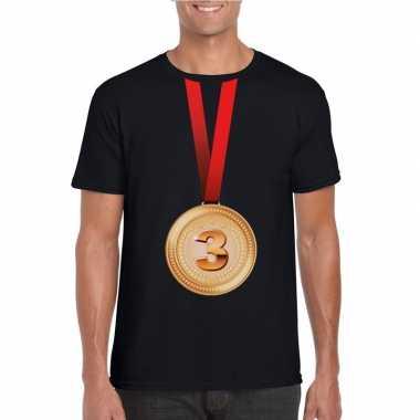 Winnaar bronzen medaille shirt zwart heren