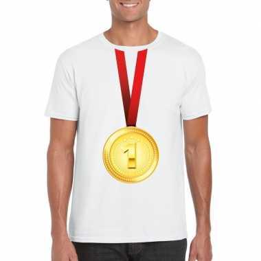 Winnaar gouden medaille shirt wit heren