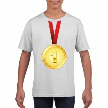 Winnaar gouden medaille shirt wit kinderen