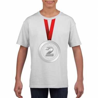Winnaar zilveren medaille shirt wit kinderen