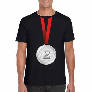 Winnaar zilveren medaille shirt zwart heren