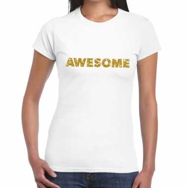Wit awesome goud fun t shirt dames