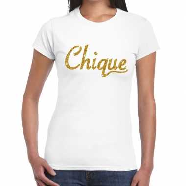 Wit chique goud fun t shirt dames