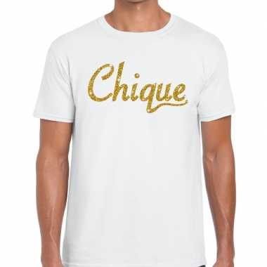 Wit chique goud fun t shirt heren