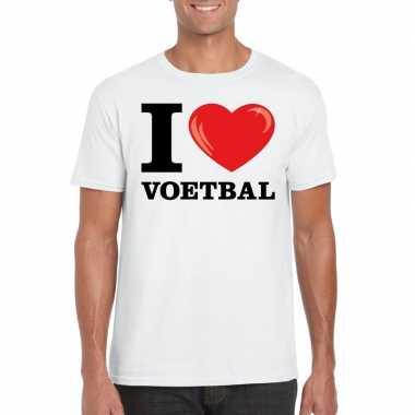 Wit i love voetbal t-shirt heren