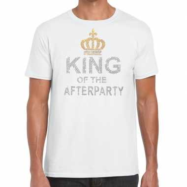 Wit king of the afterparty glitter steentjes t shirt heren