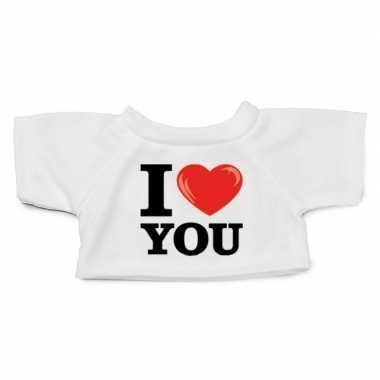 Wit knuffel shirt i love you maat xl clothies knuffel 13 bij 9