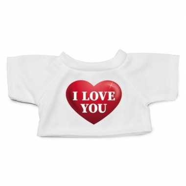 Wit knuffel shirt i love you maat xl clothies knuffel 22 bij 20