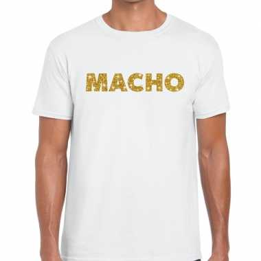 Wit macho goud fun t shirt heren