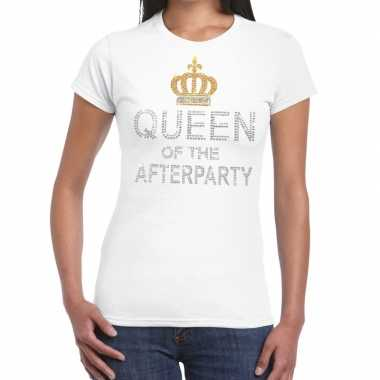 Wit queen of the afterparty glitter steentjes t shirt dames