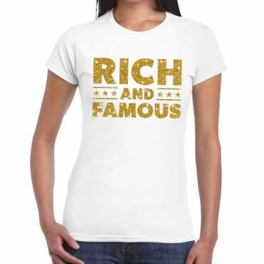 Wit rich and famous goud fun t shirt dames