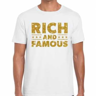Wit rich and famous goud fun t shirt heren