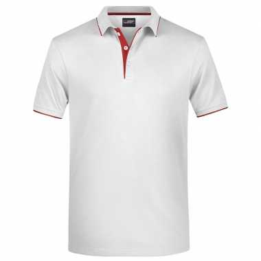 Wit/rood premium poloshirt golf pro heren
