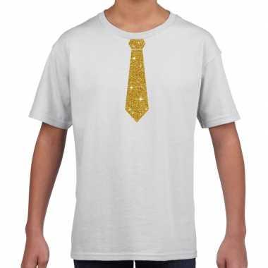 Wit t shirt gouden stropdas kinderen