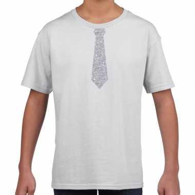 Wit t shirt zilveren stropdas kinderen