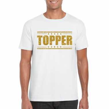 Wit topper shirt gouden glitter letters heren