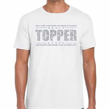 Wit topper shirt zilveren glitter letters heren
