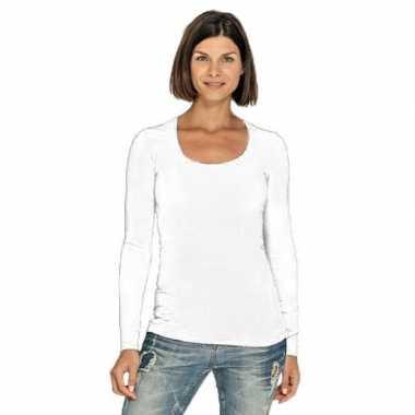 Witte longsleeve shirt ronde hals dames