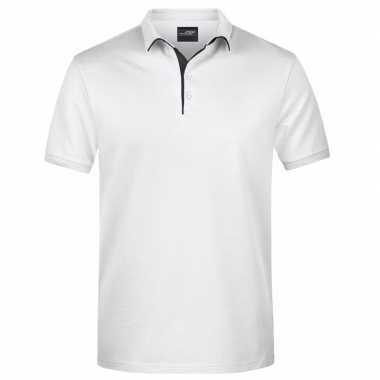 Witte premium poloshirt golf pro heren