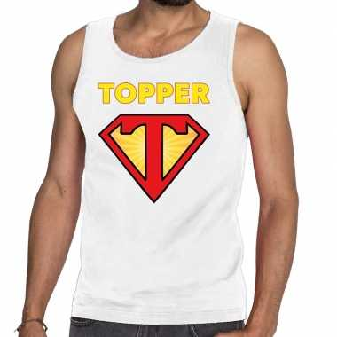 Witte tanktop / mouwloos shirt super topper heren