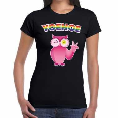 Yoehoe gaypride knipogende roze uil tekst/fun shirt zwart dames