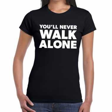 You'll never walk alone fun t shirt zwart dames