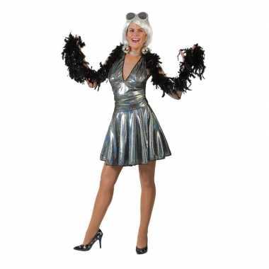 Zilveren disco eighties rok shirt dames