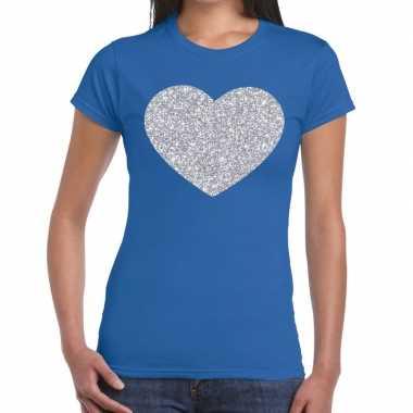 Zilveren hart glitter fun t shirt blauw dames