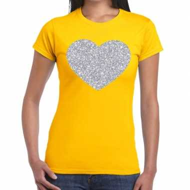 Zilveren hart glitter fun t shirt geel dames