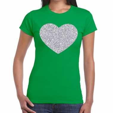 Zilveren hart glitter fun t shirt groen dames