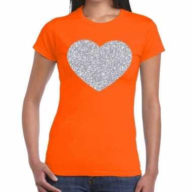 Zilveren hart glitter fun t shirt oranje dames