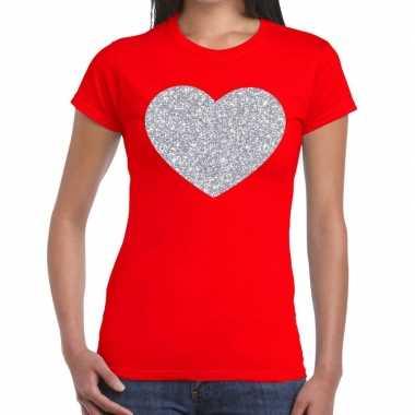 Zilveren hart glitter fun t shirt rood dames