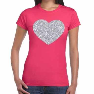Zilveren hart glitter fun t shirt roze dames