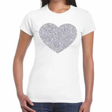 Zilveren hart glitter fun t shirt wit dames