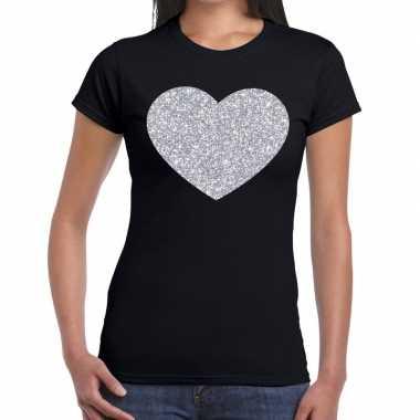Zilveren hart glitter fun t shirt zwart dames