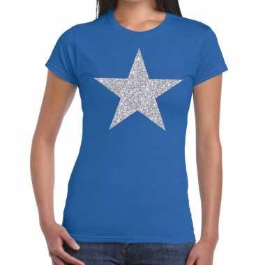 Zilveren ster glitter fun t shirt blauw dames