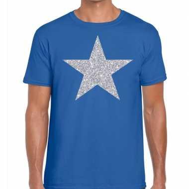 Zilveren ster glitter fun t shirt blauw heren