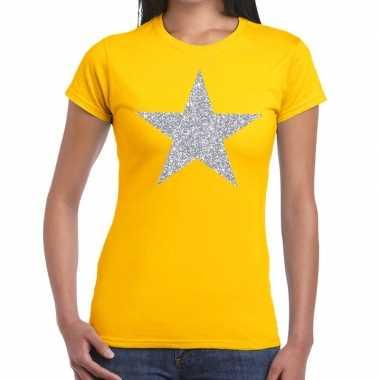 Zilveren ster glitter fun t shirt geel dames